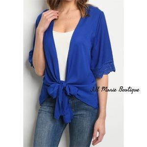 Electric blue tie front top NWT
